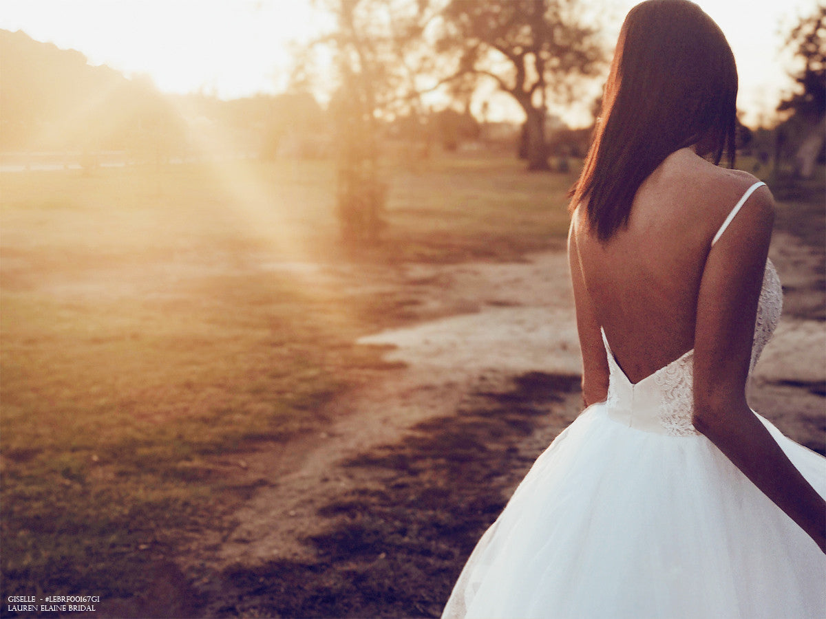 Backless wedding dresses and bridal gowns by Designer Lauren Elaine