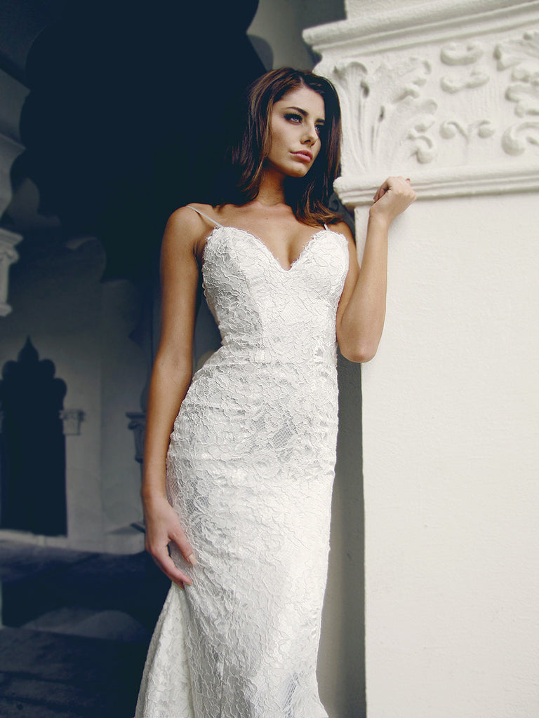 sexy lace wedding gowns by designer lauren elaine los angeles ca wedding gowns
