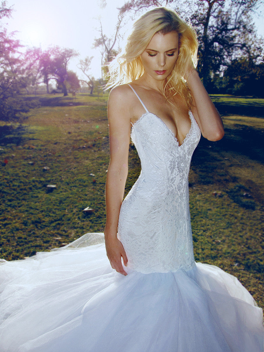 Sexy sweetheart lace and tulle mermaid wedding gown. Jasmine by Lauren Elaine Bridal.