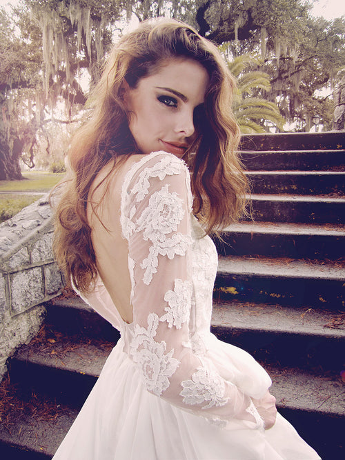 Backless lace long-sleeve illusion lace wedding gown