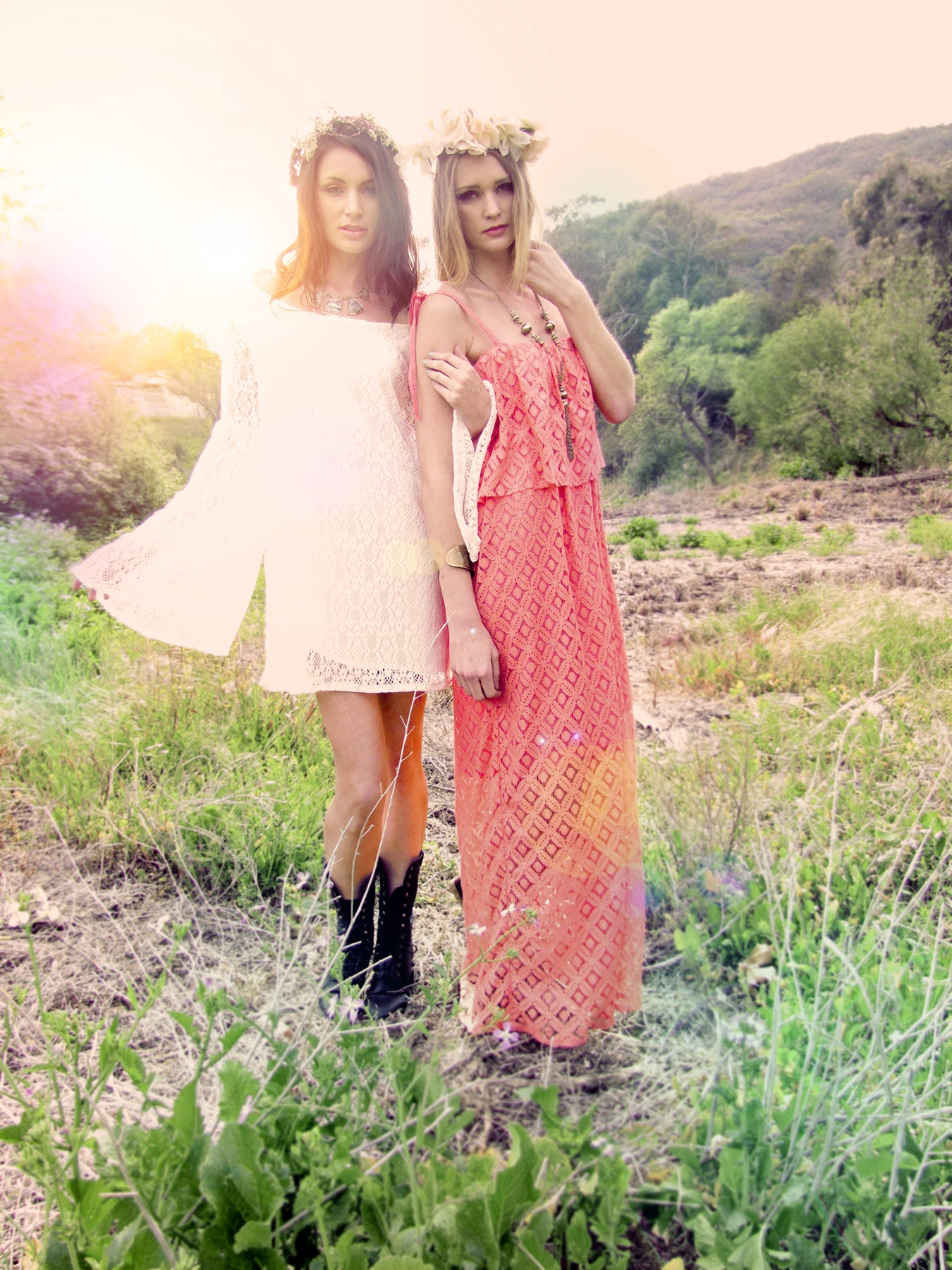 White lace beach dress. Bell sleeves dress.