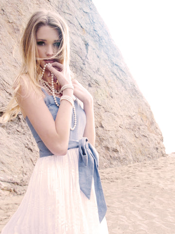 Chambray and chiffon dress. Summer dress with tie sash.