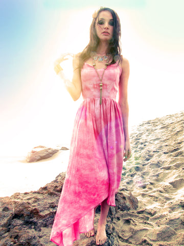 Tie dyed dress. Hi low skirt summer dress. Sweetheart bodice.
