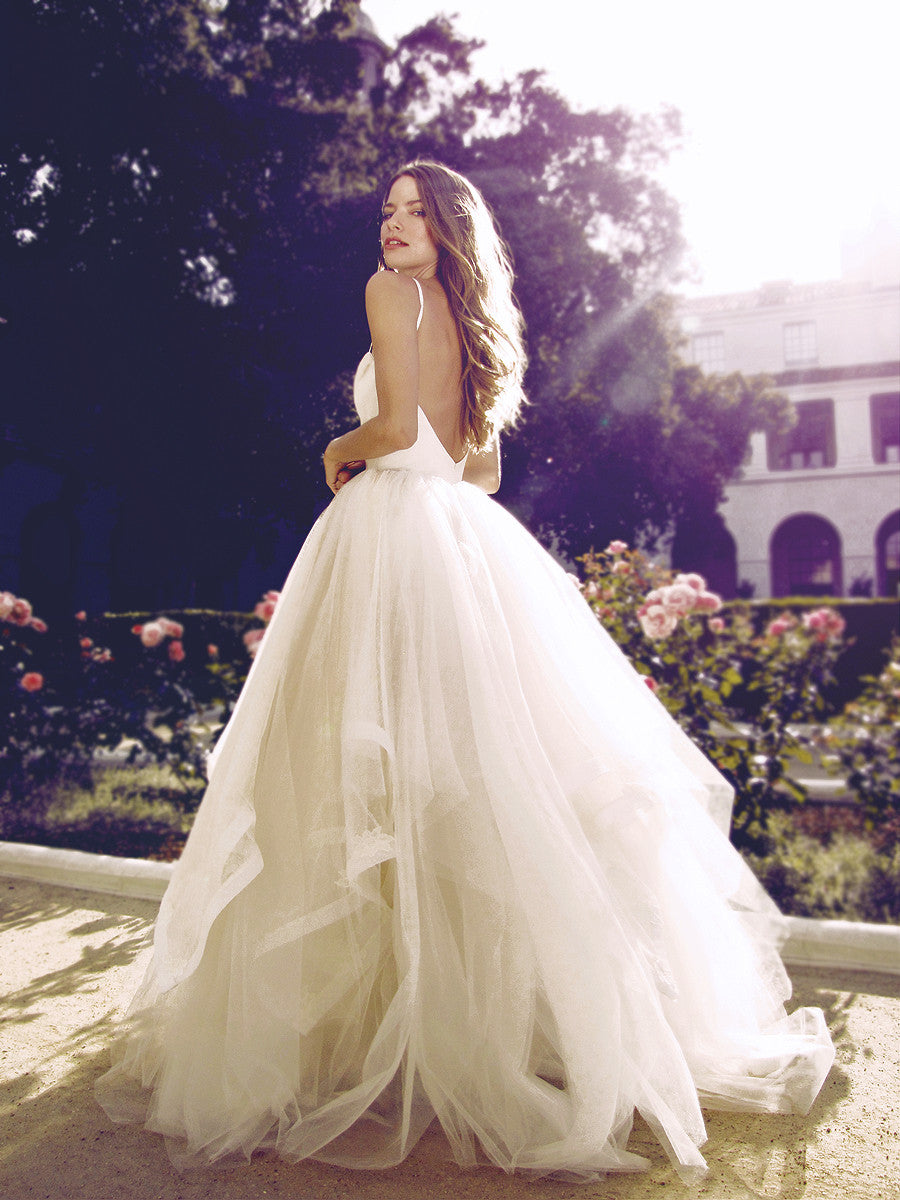 Princess tulle ball gown silhouette with open back.