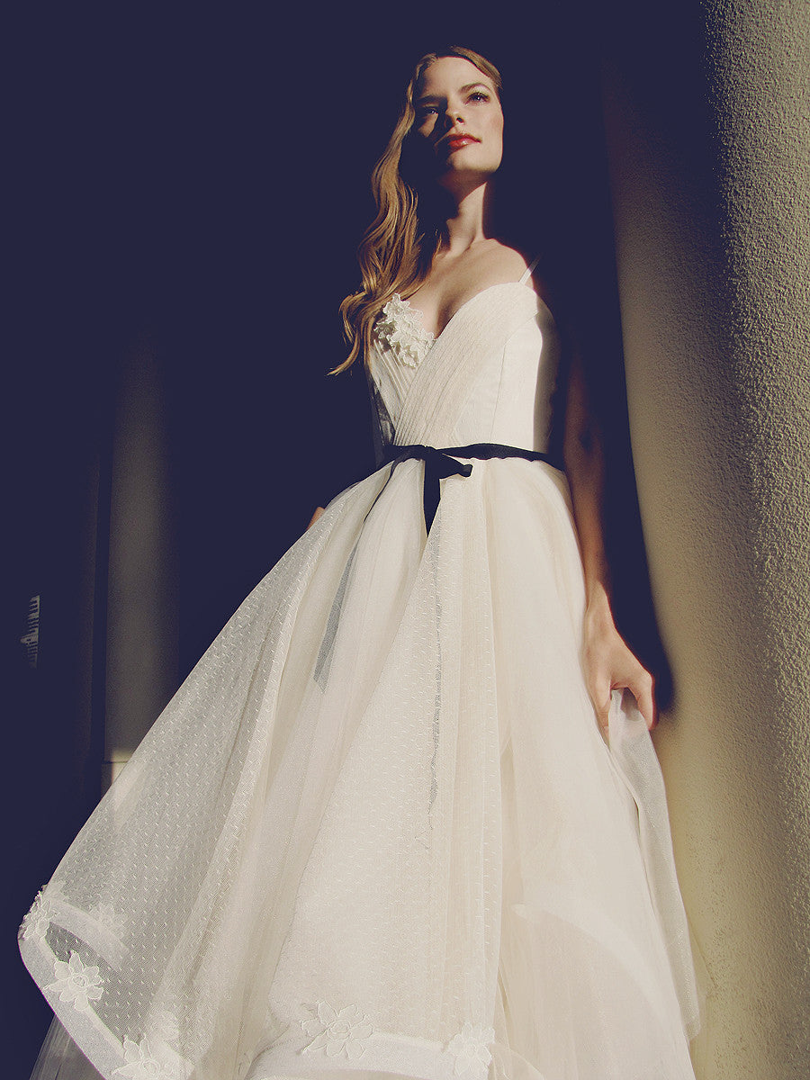 Ivory tulle wedding dress with black grosgrain ribbon accent