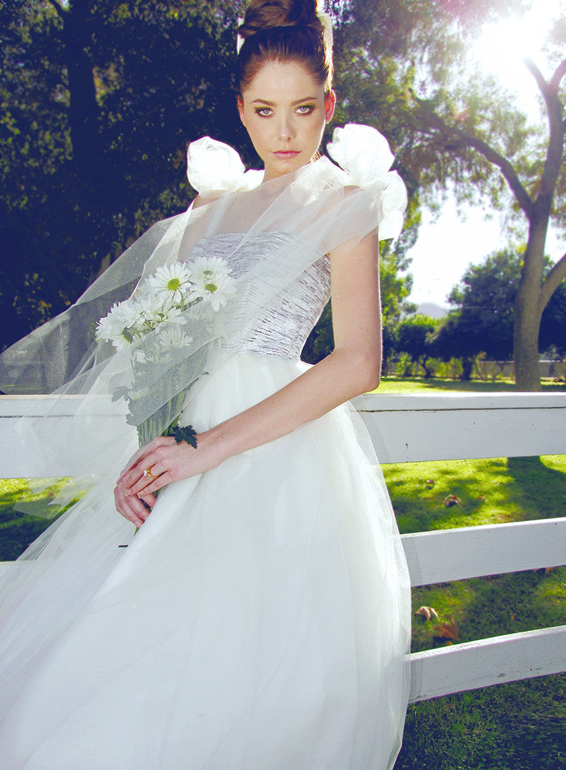 Tulle Gown, Tea-Length Ball Gown, Brocade, Shoulder Bows