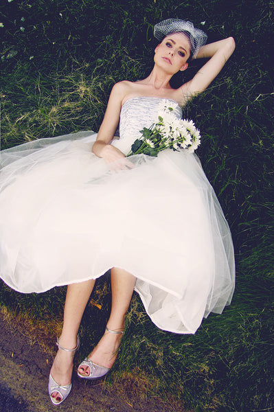 Strapless, Tulle, Chiffon, Brocade, Bow, Ball Gown