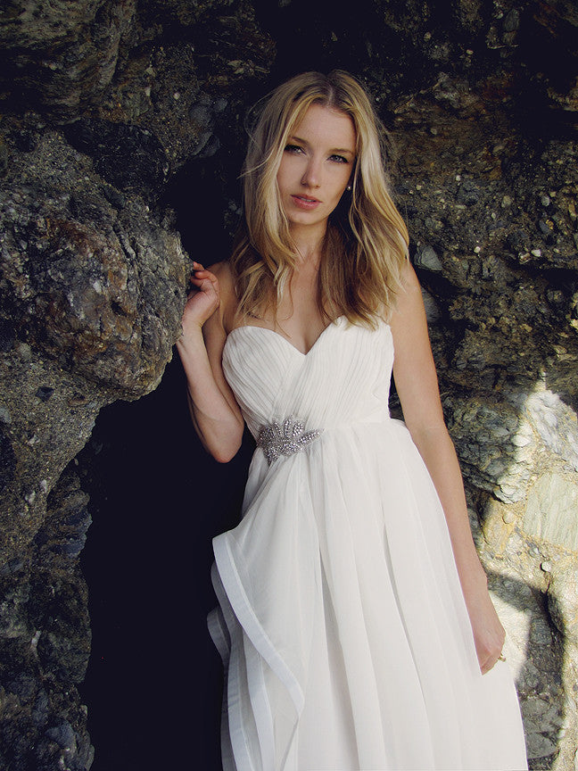 Ruched chiffon sweetheart a-line bridal gown. Nova by Lauren Elaine Bridal.