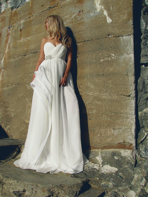 Horsehair petal gown by Lauren Elaine Bridal. Made in the USA.