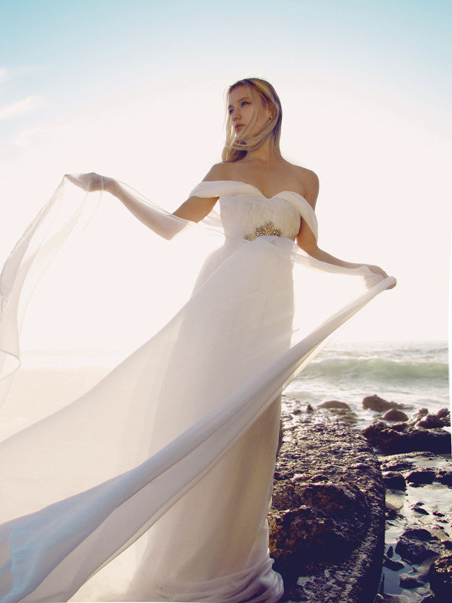A-line Gown, Off-The-Shoulder, Ruched, Chiffon, Sweetheart, Swarovski Crystal