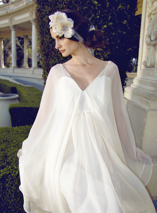 Chiffon and lace capelet dress made in the usa.