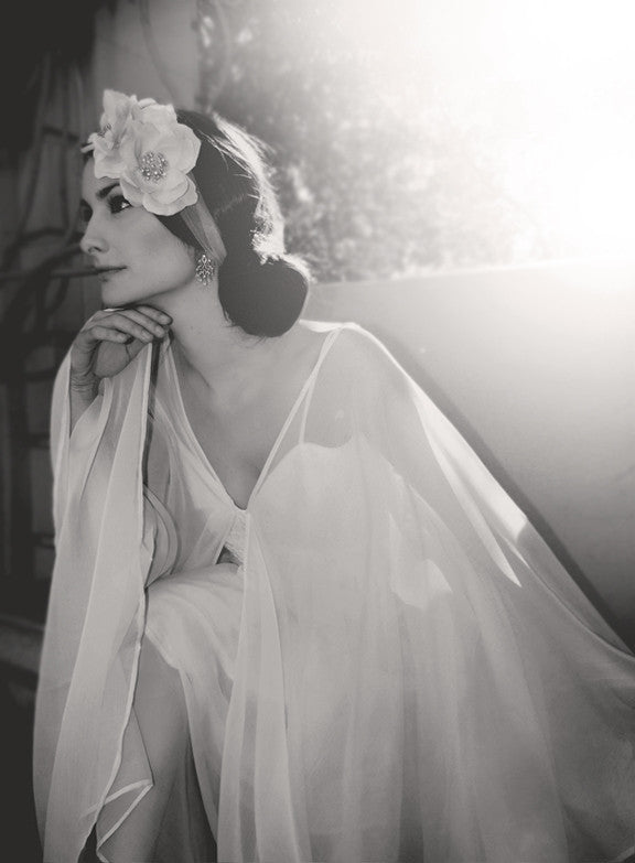 Astra Capelet Dress from Lauren Elaine Bridal, Lace and chiffon