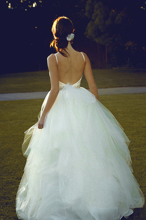 Tulle, lace, and Swarovski crystal ball gown with open back