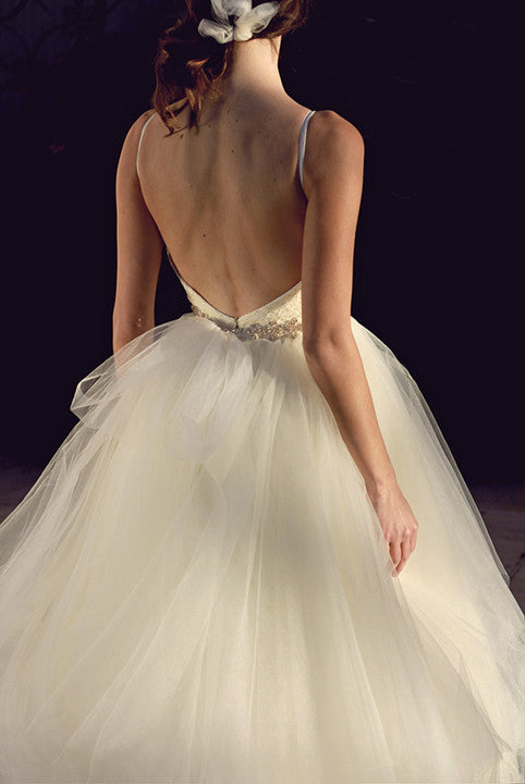 Open Back, Tulle, French Lace, Swarovski Crystal, Ball Gown