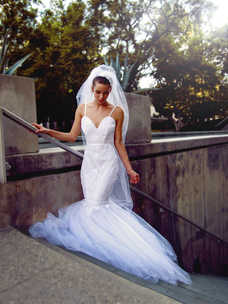 Tulle mermaid Anastasia gown by Lauren Elaine Bridal. Made in the USA.