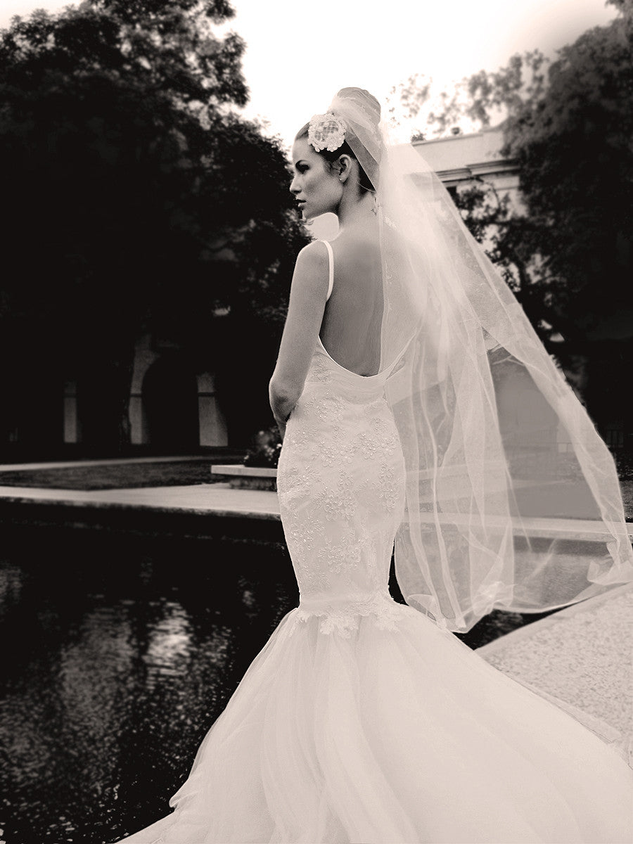 Lauren Elaine Anastasia Bridal Gown. Mermaid Gown with tulle and lace.