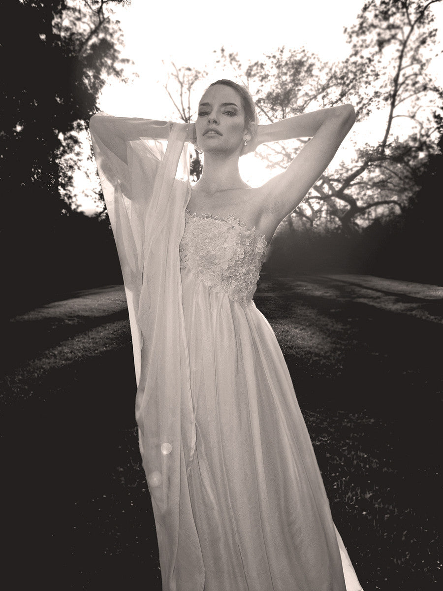 Lauren Elaine Aurora gown, made in the USA, vintage inspired bridal.