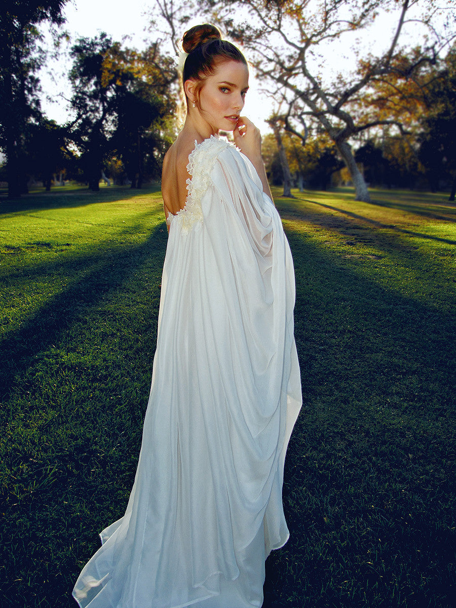 Bohemian, 1970s vintage inspired wedding gown. Ethereal grecian bridal gown.