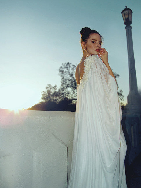 Lauren Elaine Aurora gown. 1970s vintage inspired ethereal bridal gown.