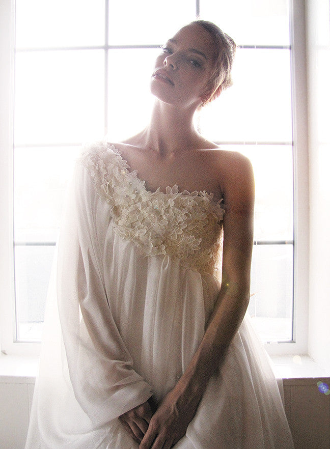 Lace embroidered one-shoulder asymmetrical bridal gown with sleeve