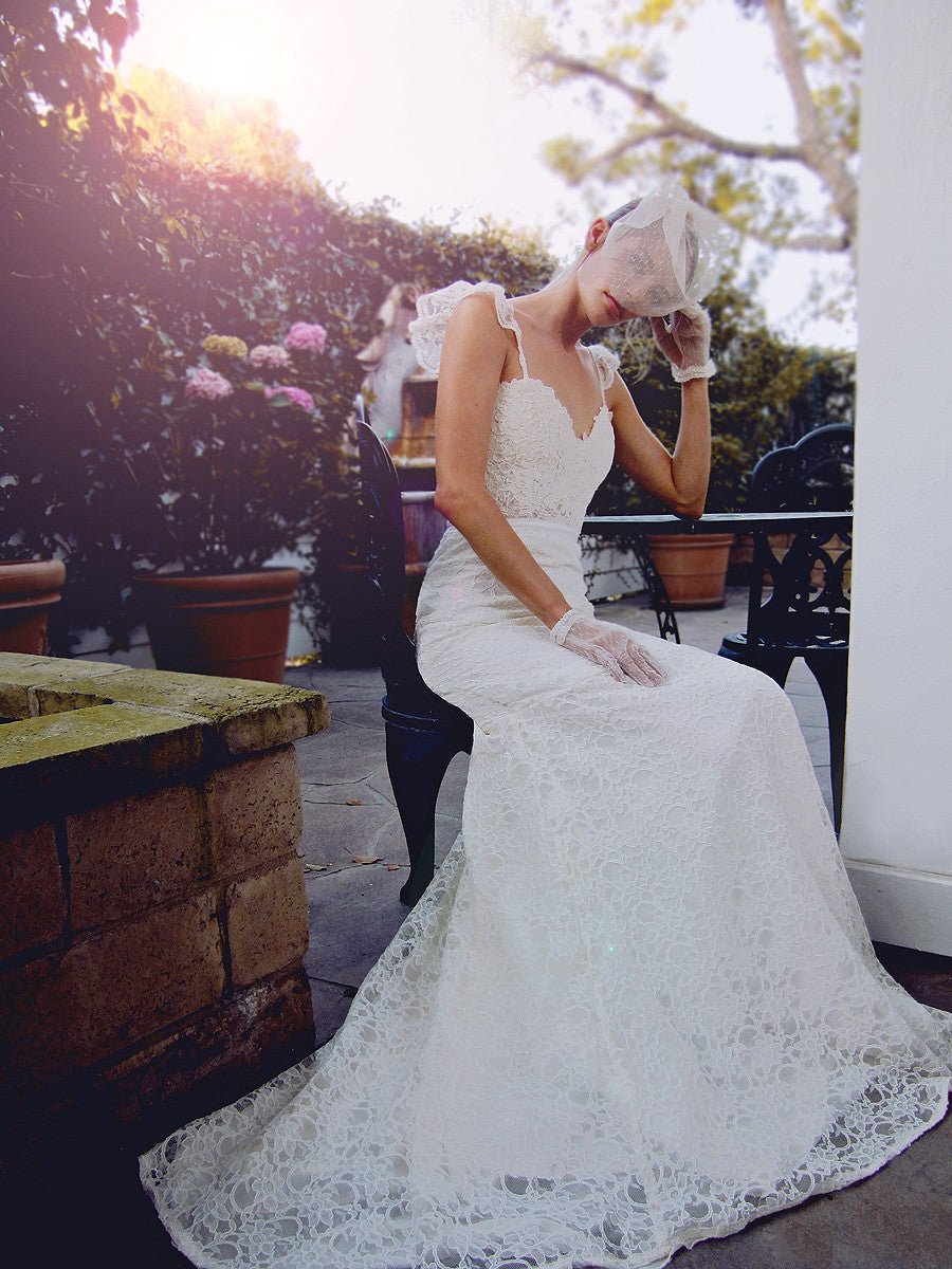 trumpet mermaid lace illusion sweetheart bridal gown with train