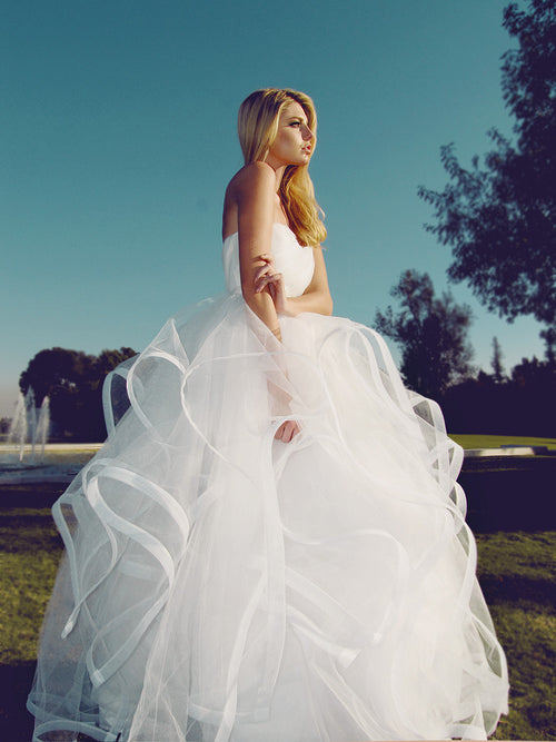 Lauren Elaine Lotus Gown, horsehair and tulle ball gown, sweetheart bodice