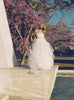 Tulle and horse hair petal ball gown wedding dress, sweetheart bodice, made in the usa