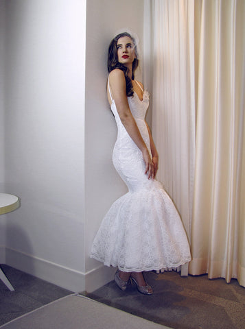 Backless tea-length retro vintage mermaid lace wedding dress.