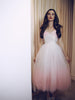 Blush ombre tulle wedding gown. Vintage inspired tea-length bridal.