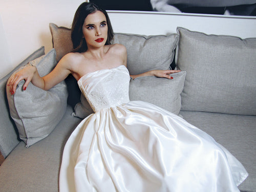 Retro 1950's satin wedding dress with crinoline petticoat. The Lana by Lauren Elaine Bridal.