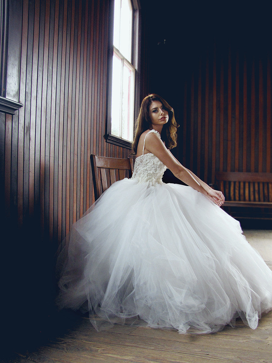 Layered tulle ballgown with french corded lace. Illusion wedding gown
