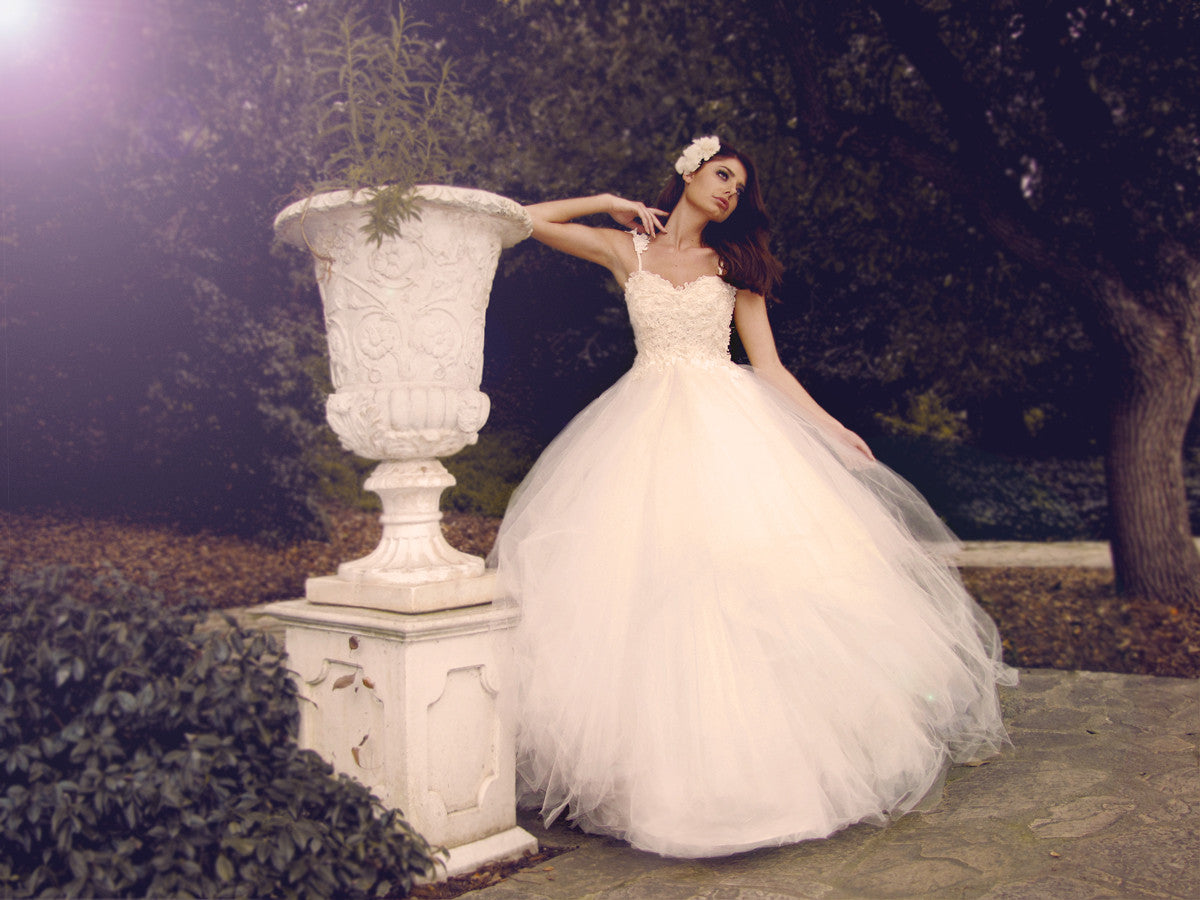 Affordable designer ball gown wedding dresses. Illusion lace & tulle bridal.