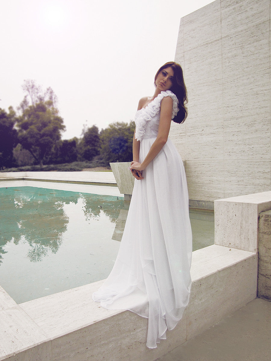 Couture bridal gowns made in Los Angeles. Lauren Elaine Bridal. One-shoulder wedding gowns.