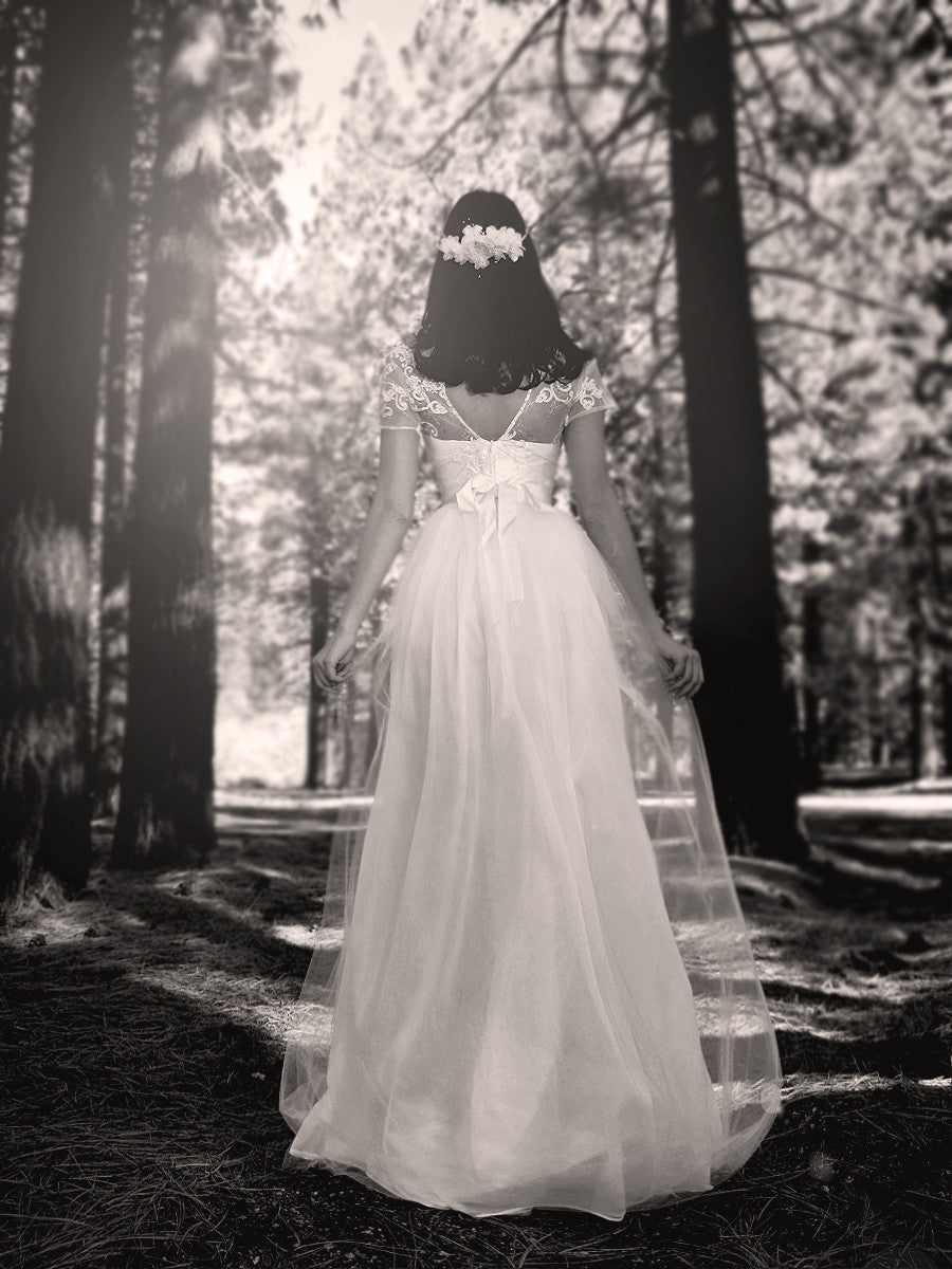 Whimsical, ethereal, vintage-inspired bridal. The Briar Rose gown by Lauren Elaine Bridal.