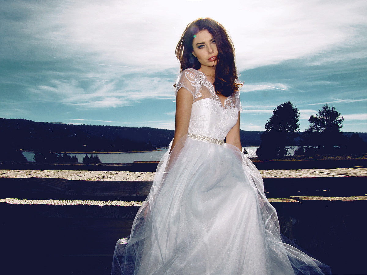 Lauren Elaine Briar Rose bridal gown with lace illusion & lace sleeves.