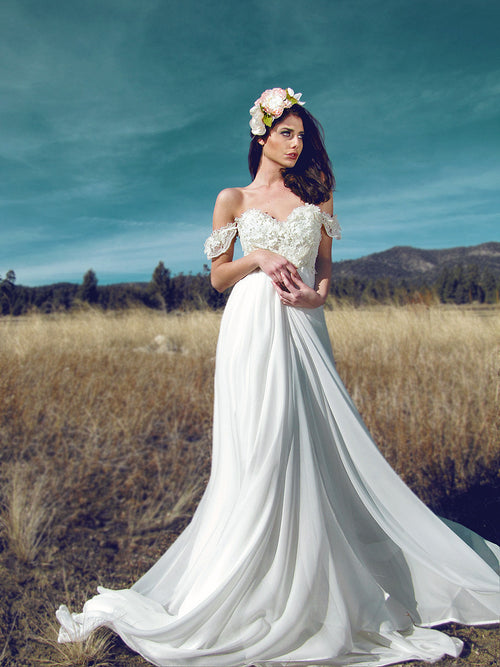 Lauren Elaine Bridal, ethereal chiffon and lace wedding gown