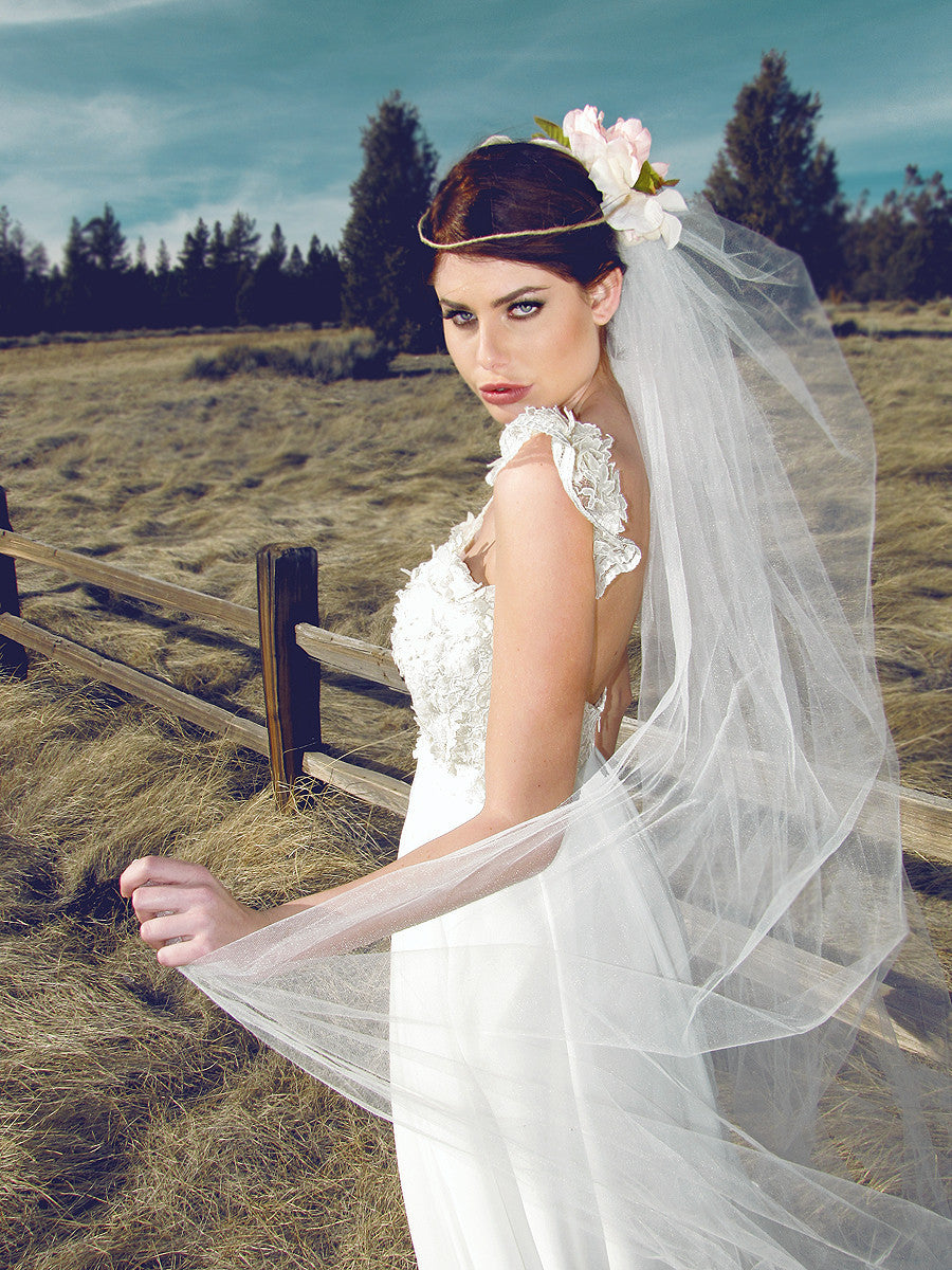 Lauren Elaine Camellia Gown. Lace capped sleeve bridal gown with 3D lace flowers. Romantic, rustic wedding gowns.