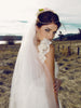 Ruffled lace sleeve wedding dress with pearls. Lauren Elaine Camellia gown. Made in the USA. Affordable Designer bridal.
