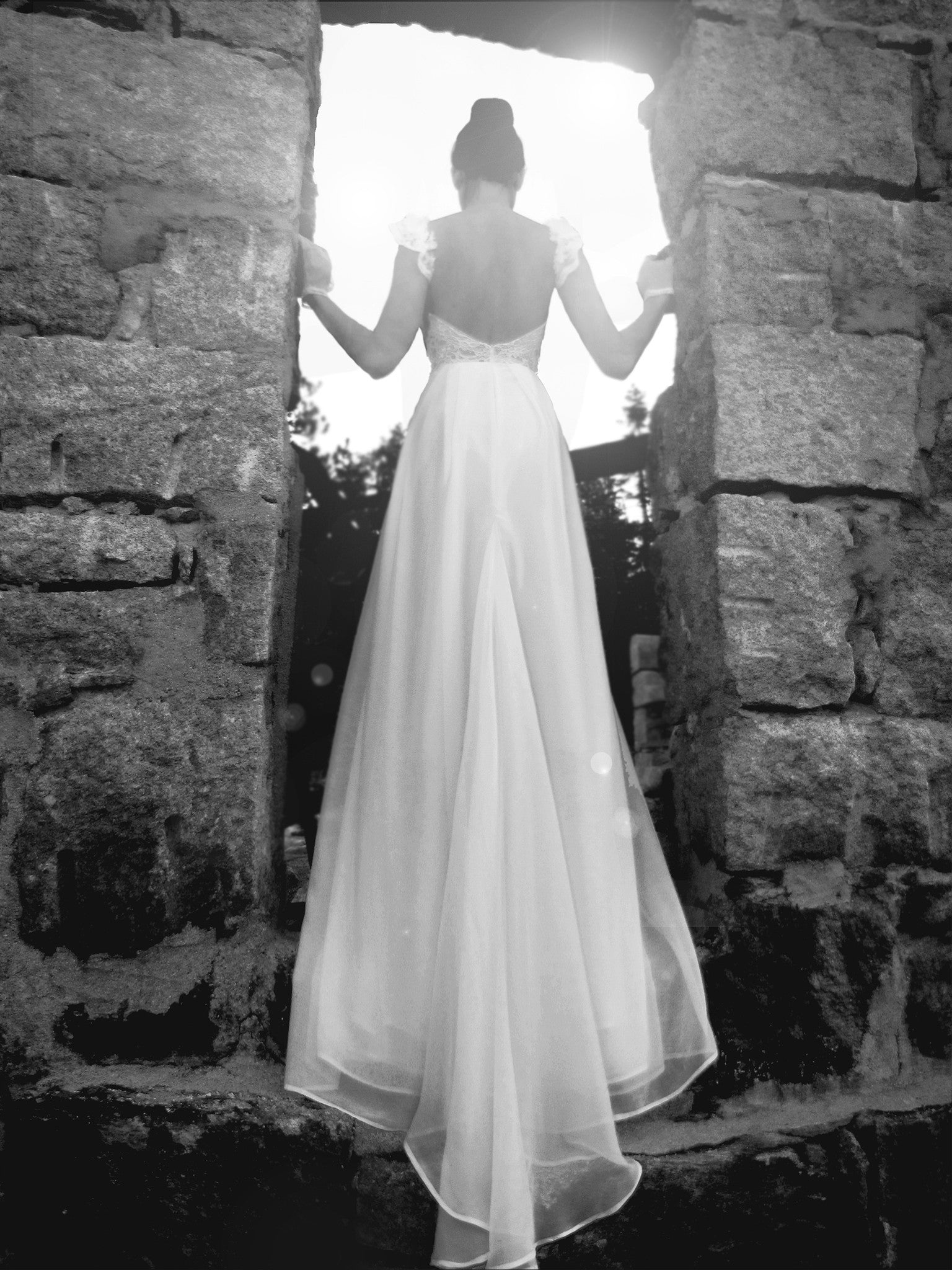 Ethereal chiffon and lace illusion backless wedding gown, Camellia by Lauren Elaine Bridal