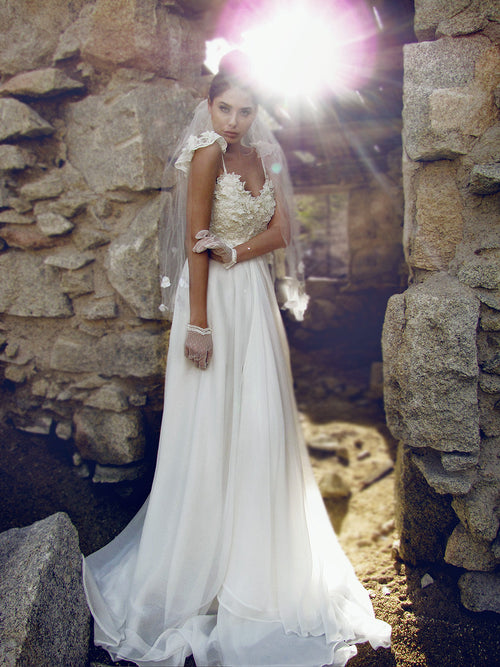 Lauren Elaine Camellia Bridal Gown, French lace illusion wedding gown