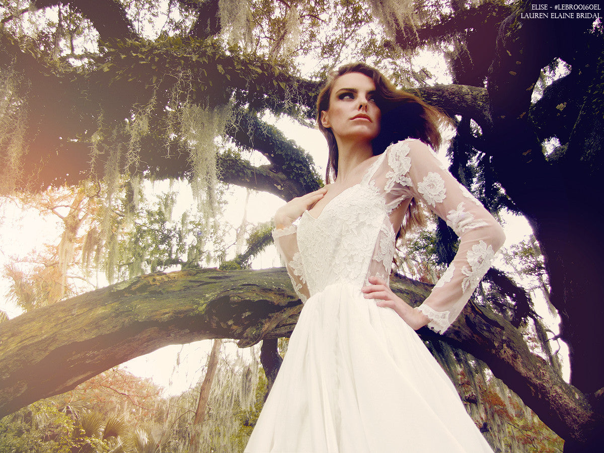 Elise by Lauren Elaine. Lace illusion designer wedding gown.