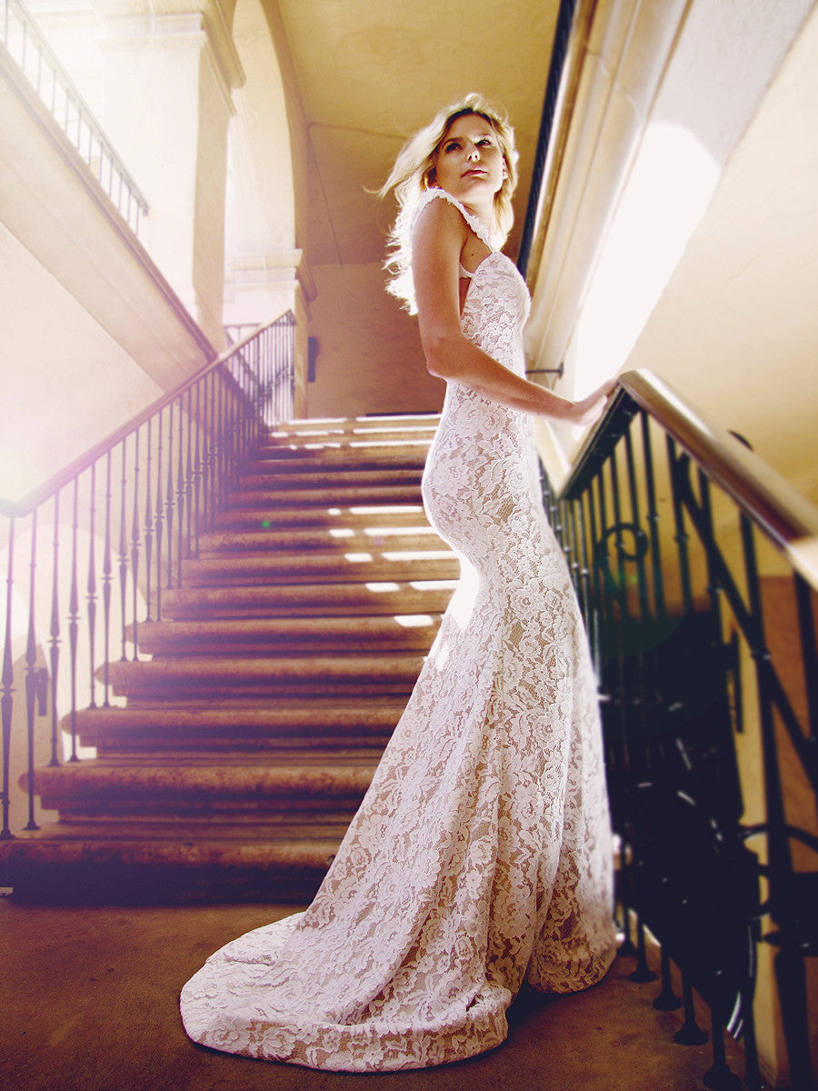 Champagne lace satin trumpet mermaid wedding gown with horsehair braid scalloped hemline. Amara by Lauren Elaine Bridal.