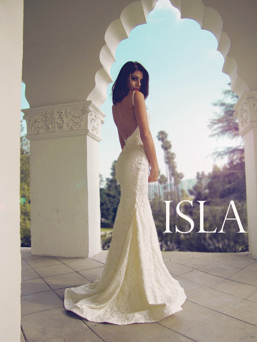 Isla wedding gown by Lauren Elaine Bridal. Backless lace trumpet wedding dress.