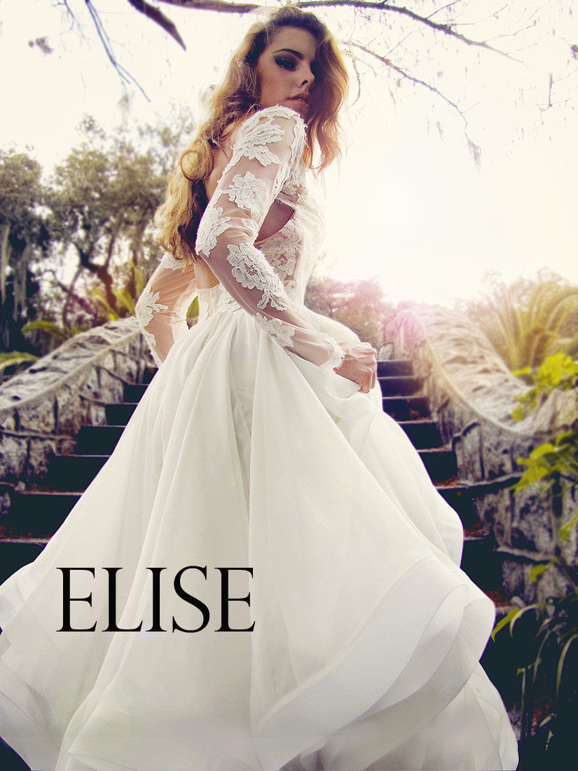 Elise gown by Lauren Elaine. Long sleeved lace wedding dress.
