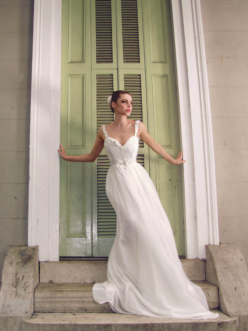 A-line chiffon lace illusion backless wedding gown. Cosette by Lauren Elaine Bridal.