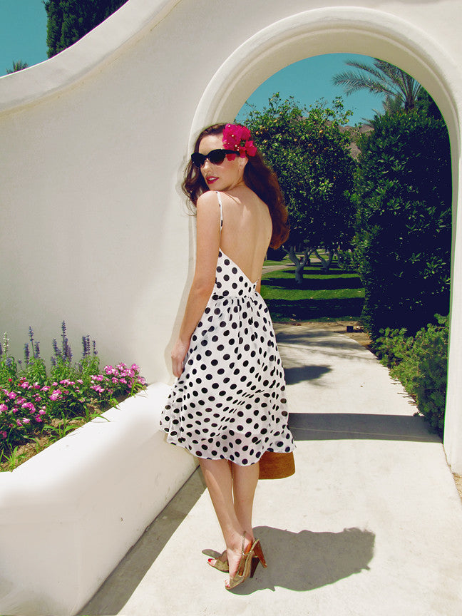 Landry Dress |  Polka Dot Chiffon Dress with Open Back and High-Lo Hem