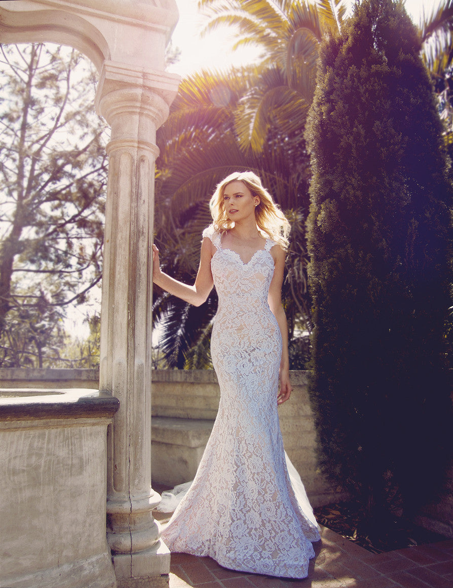 Mermaid trumpet lace illusion wedding dress with cap sleeves and pearls