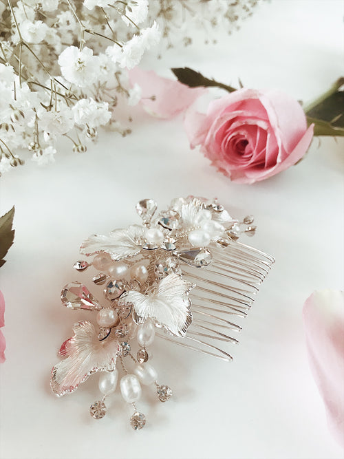 "Lauren Elaine Bridal Curated Accessories Collection ""Dewdrop"" hair comb with silver painted leaves, pave crystals, and freshwater pearl accents"