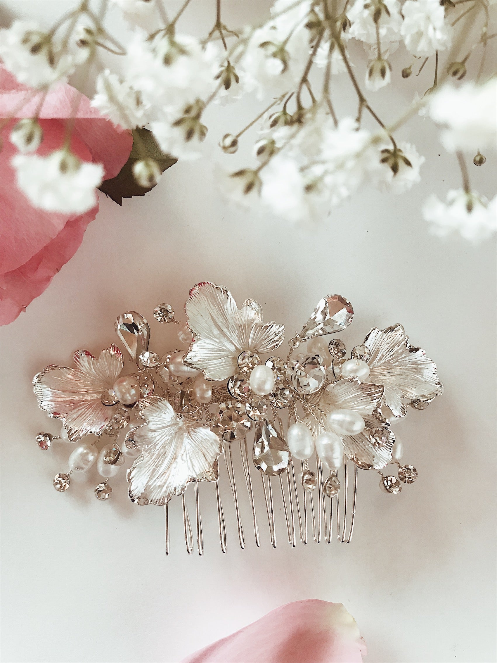 "Lauren Elaine ""Dewdrop"" bridal hair comb with hand painted gold, silver, or rose gold leaves, and pave crystals with freshwater pearl accents"