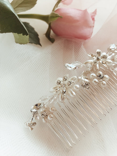 "Lauren Elaine ""Honeysuckle"" bridal hair comb with pearl and crystal detailing"